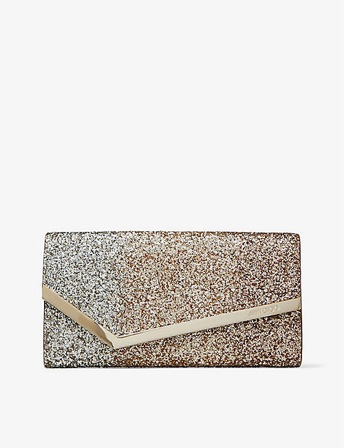 JIMMY CHOO: Emmie glitter-embellished leather clutch