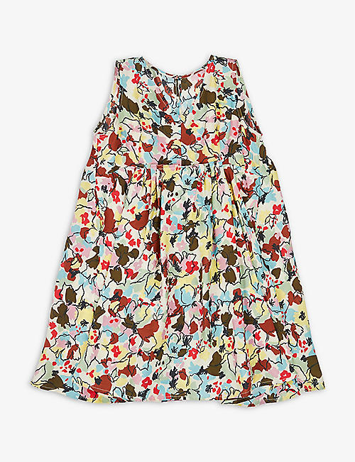 CARAMEL: Octopus floral-printed silk mini dress 3-12 years