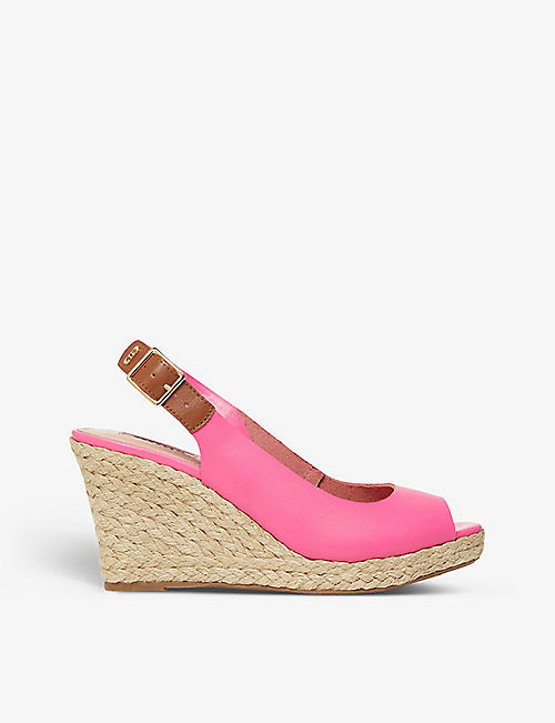 DUNE: Kicks espadrille leather wedge sandals