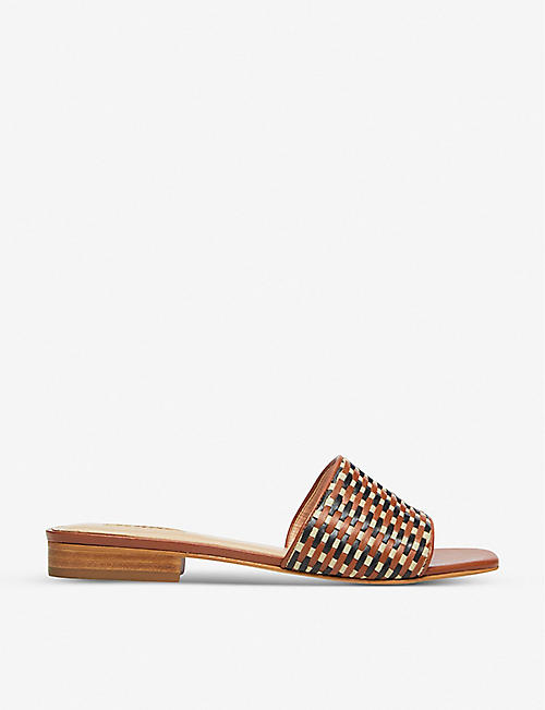DUNE: Libra lattice-woven leather mules