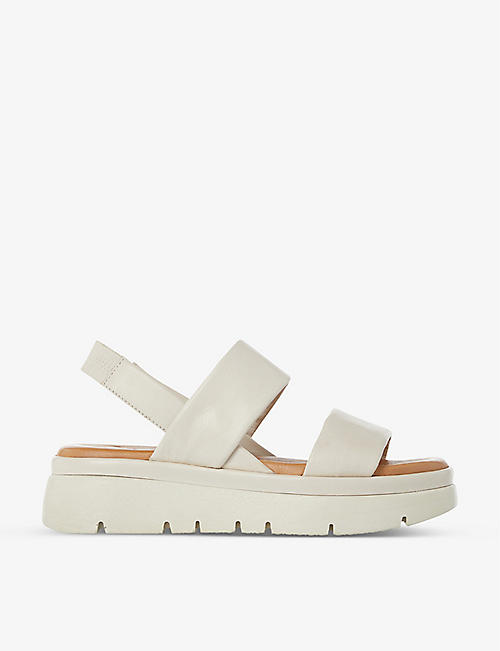 DUNE: Location padded leather flatform sandals