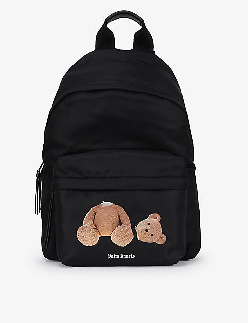PALM ANGELS: Bear-print woven backpack