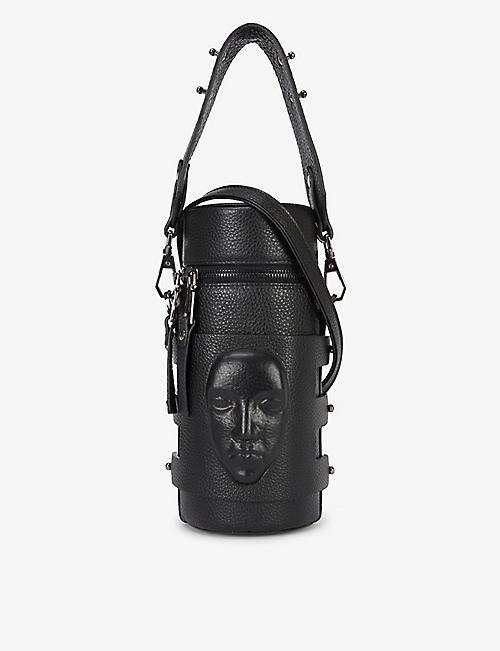 GANOR DOMINIC: Face-embossed deadstock-leather bucket bag
