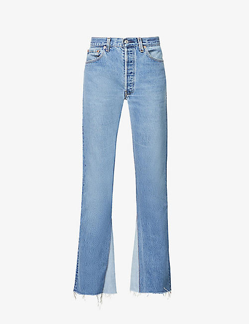 EB DENIM: Upcycled Farrah flared high-rise regular-fit jeans