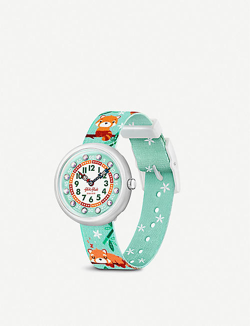FLIK FLAK: FBNP173 Pandamazing recycled-strap quartz watch