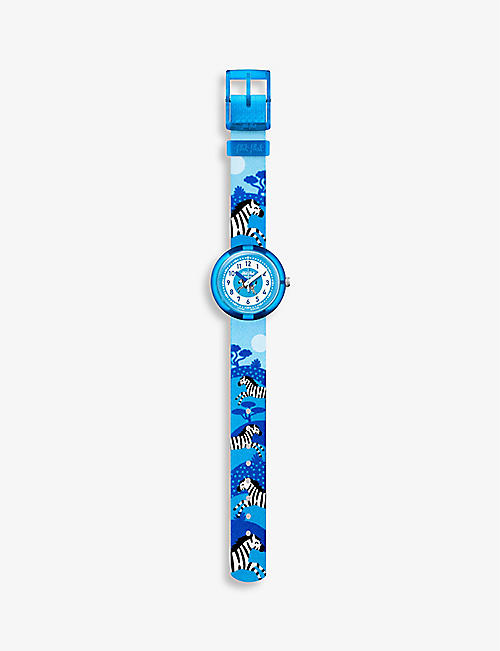 FLIK FLAK: FBNP082 Zebrannah bio sourced-plastic and recycled-PET quartz watch