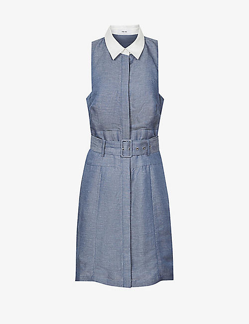 REISS: Mira contrast-collar chambray linen-blend mini dress