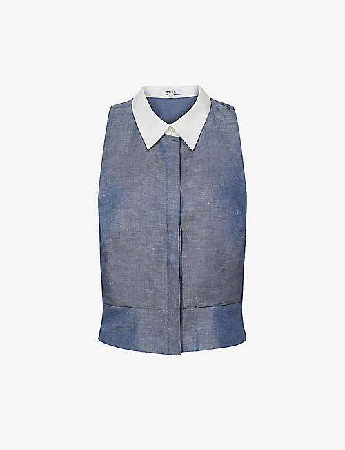 REISS: Nisha contrast-collar chambray linen-blend top
