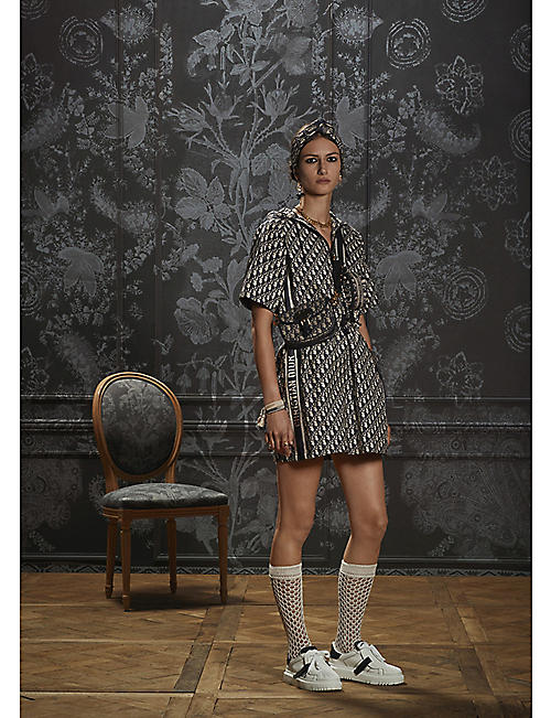 DIOR: Dior Oblique-pattern hooded taffeta jacquard mini dress