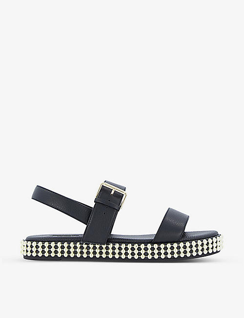 DUNE: Lyss double-strap studded leather sandals
