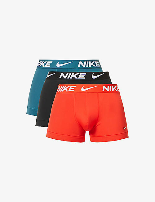 NIKE: Everyday logo-print stretch-jersey trunks pack of three