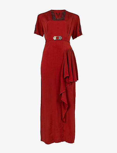 BEYOND RETRO: Pre-Loved 1940s belted bead-embellished crepe midi dress