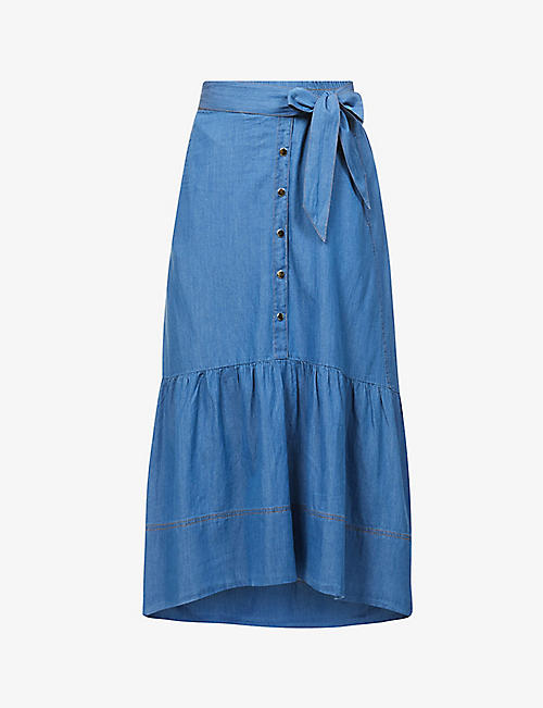 ME AND EM: Tiered chambray midi skirt