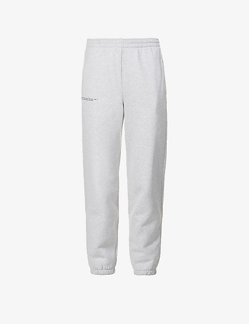 PANGAIA: Text-print mid-rise organic and recycled cotton-blend jogging bottoms