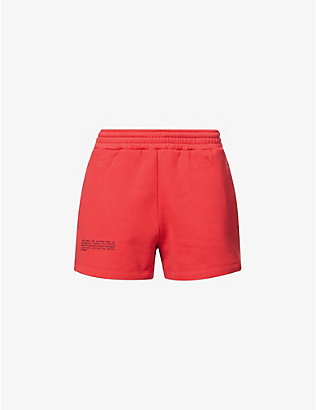 PANGAIA: Text-print mid-rise recycled and organic cotton-blend shorts