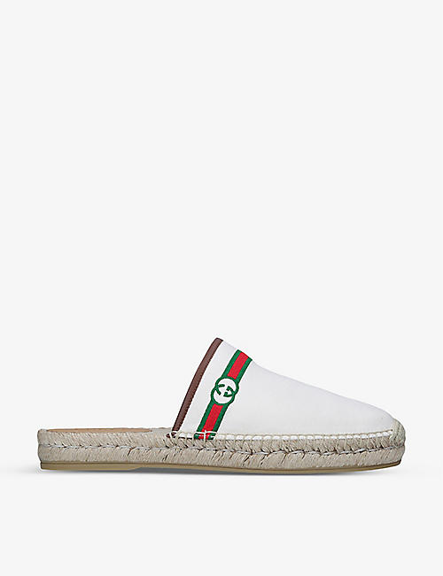 GUCCI: Alejandro logo-embroidered canvas espadrilles
