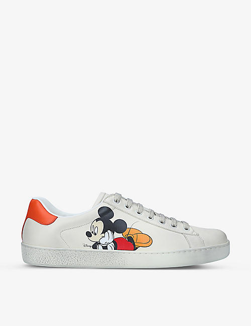 GUCCI: Men's Gucci x Disney Mickey Mouse New Ace leather trainers