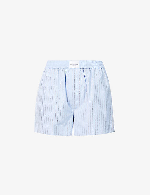 ALEXANDER WANG: Embellished stripe high-rise cotton-poplin shorts