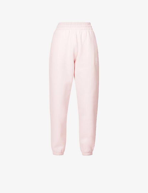 ALEXANDER WANG: Logo-embossed high-rise cotton-blend jersey jogging bottoms
