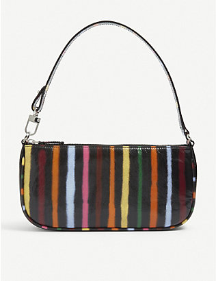 BY FAR: Rachel striped leather shoulder bag