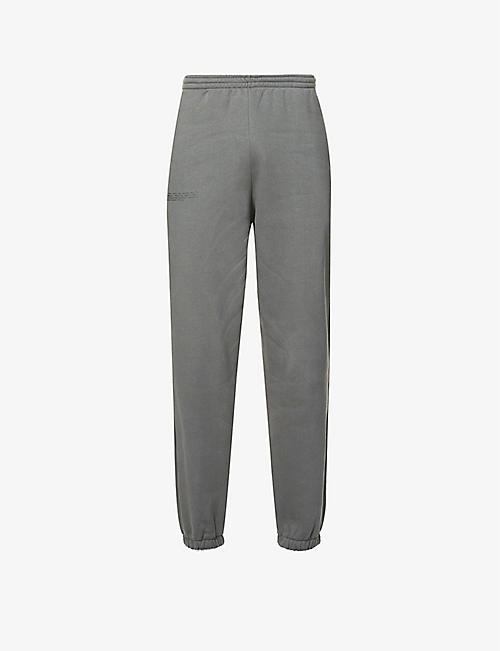 PANGAIA: Text-print mid-rise recycled and organic cotton-blend jogging bottoms