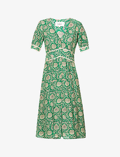 BA&SH: Plume floral-print woven midi dress