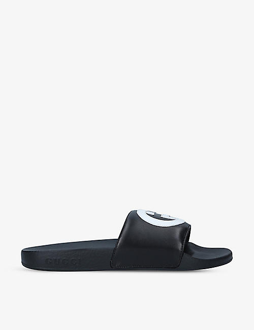 GUCCI: Pursuit logo-plaque leather sliders