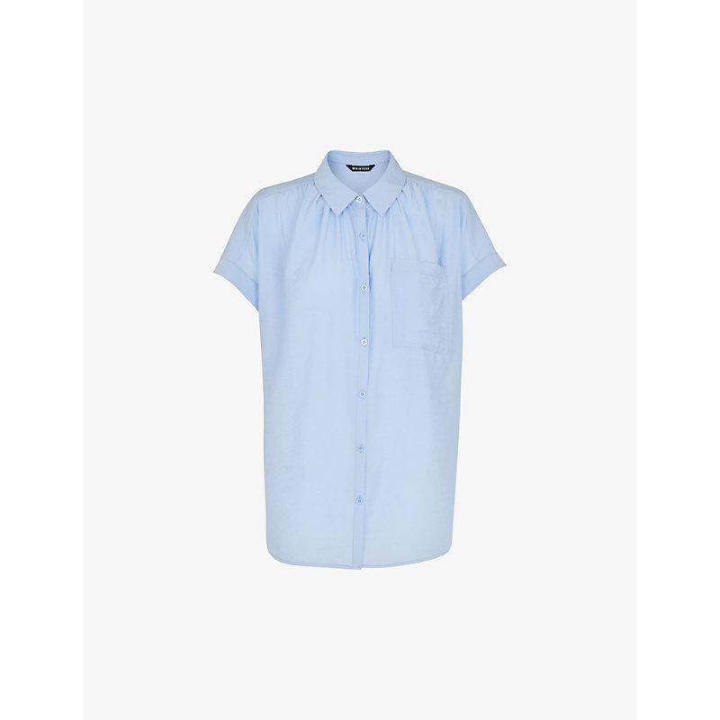 Whistles Womens Pale Blue Nicola Short-sleeved Woven Shirt L