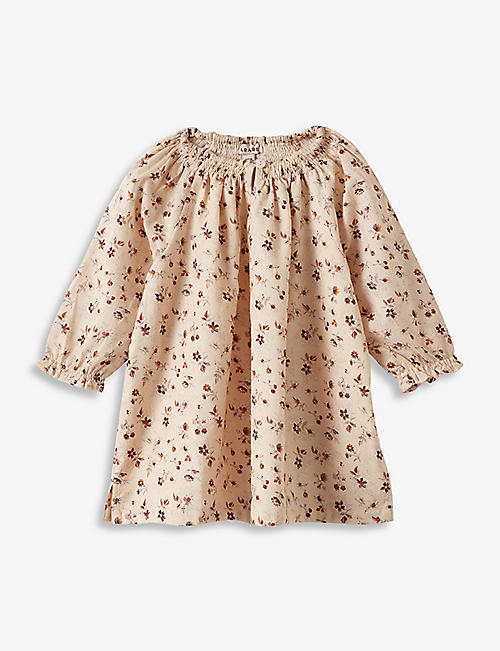CARAMEL: Arowana ditsy-print cotton dress 3-24 months