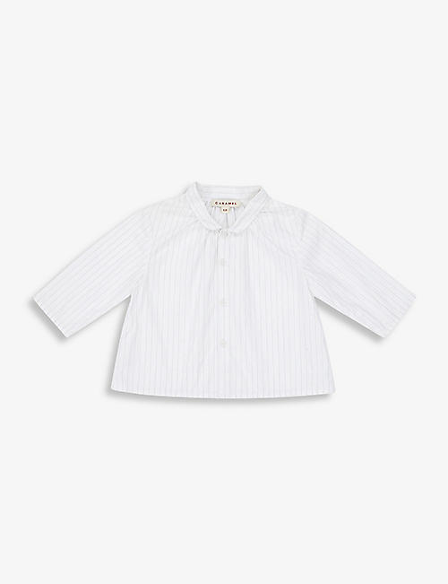 CARAMEL: Conch collared cotton shirt 3-24 months