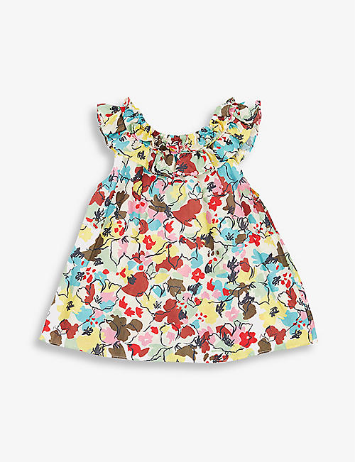 CARAMEL: Mulloway floral-print silk dress 3-24 months