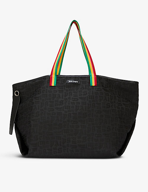 PALM ANGELS: Exodus monogram-print woven and leather tote bag