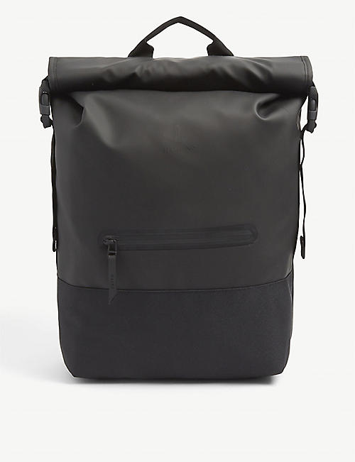 RAINS: Roll-top logo-embossed woven backpack