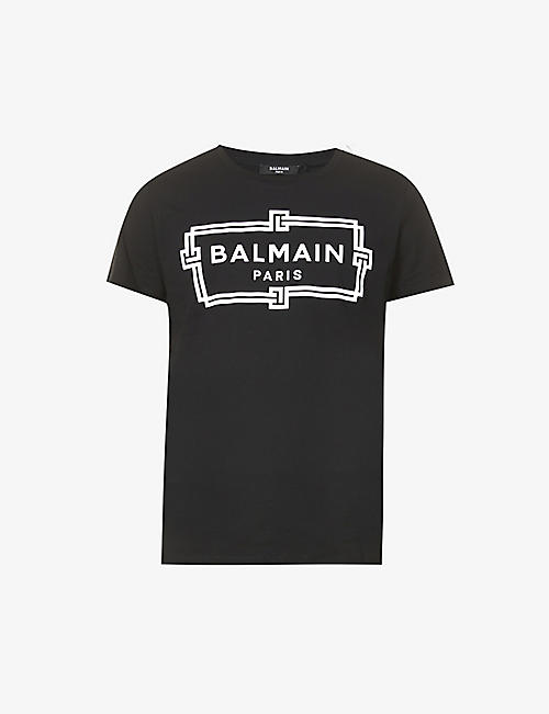 BALMAIN: Brand-print regular-fit cotton-jersey T-shirt