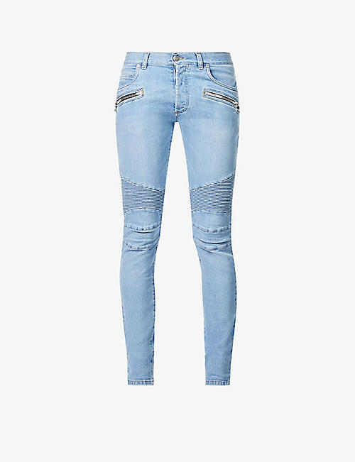 BALMAIN: Ribbed slim-fit stretch-denim jeans
