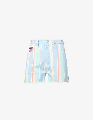 TOMMY JEANS: Striped high-rise denim shorts
