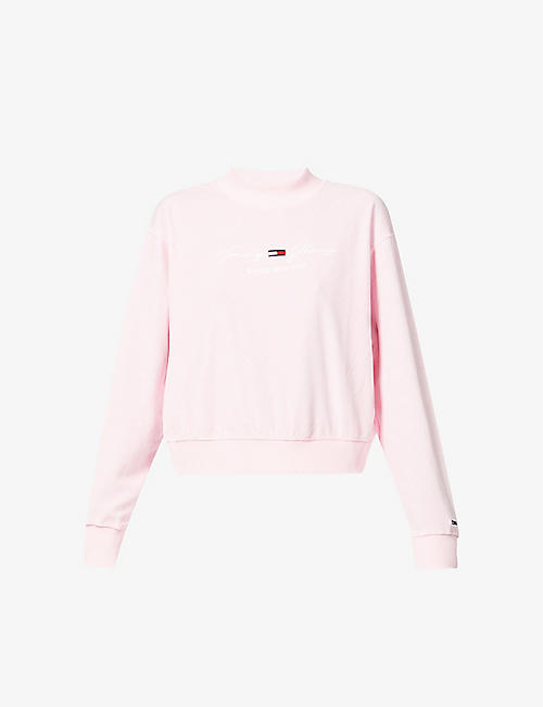 TOMMY JEANS: Pastel logo-embroidered velvet sweatshirt