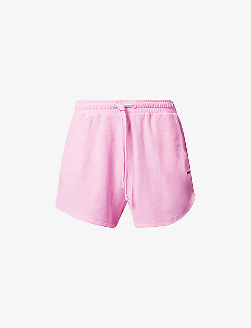 TOMMY JEANS: Pastel logo-embroidered high-rise velvet shorts