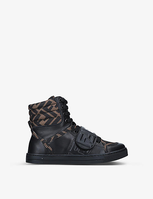 FENDI: Logo-print high-top fabric and leather trainers 7-10 years