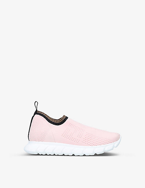 FENDI: Perforated low-top knit trainers 7-10 years