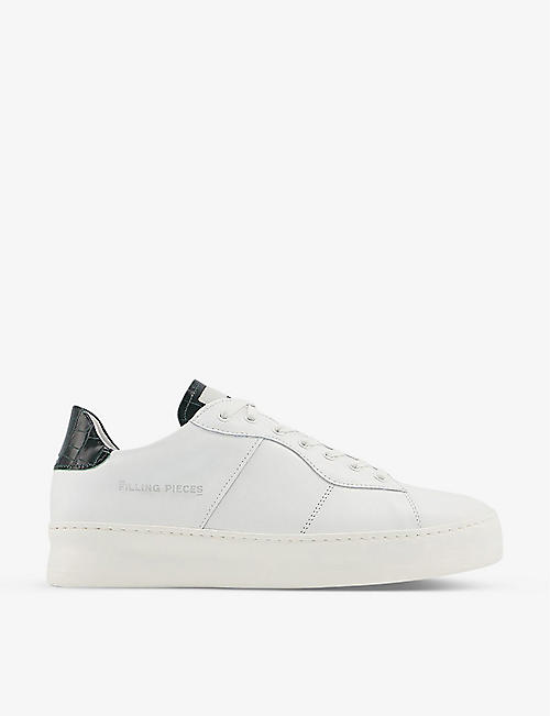 FILLING PIECES: Low Plain Court crocodile-embossed leather trainers