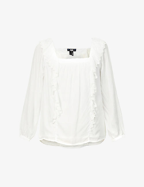 PAIGE: Brylen frill-trimmed woven top