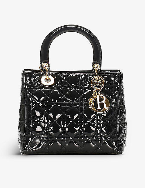 RESELLFRIDGES: Pre-Loved Dior Lady Dior patent leather top-handle bag