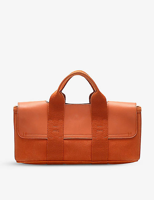 RESELLFRIDGES: Pre-loved Hermès Valparaiso Long PM leather and canvas handbag