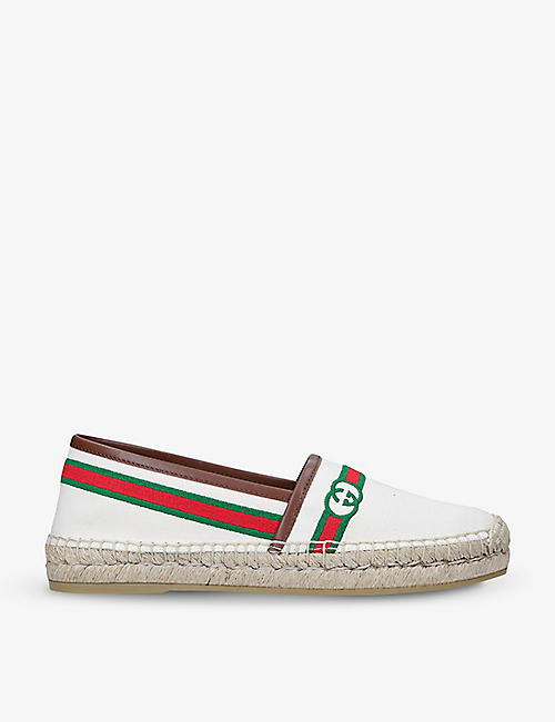 GUCCI: Pilar logo-embellished leather espadrilles