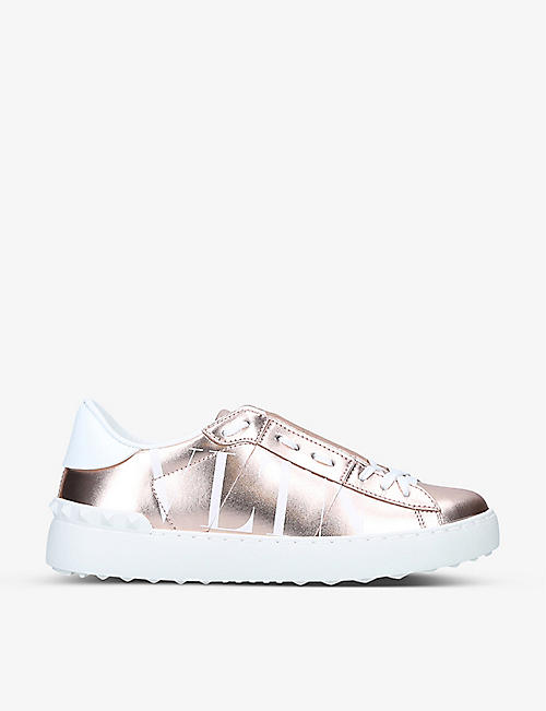 VALENTINO GARAVANI: VLTN metallic open leather trainers