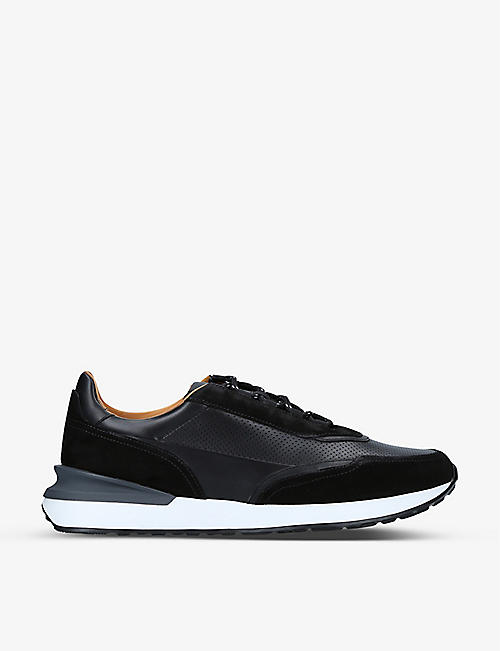 MAGNANNI: XL Grafton perforated leather and suede trainers