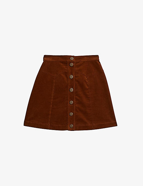 TED BAKER: Glowiie cotton-stretch cord high-waisted mini skirt