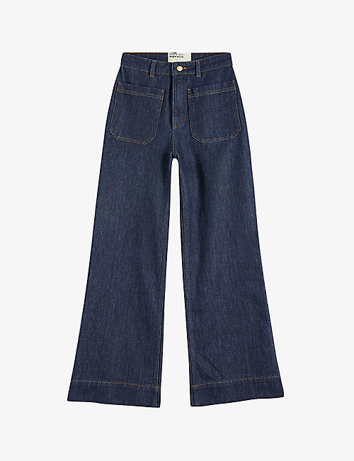 TED BAKER: Yeataa flared high-rise cotton denim jeans