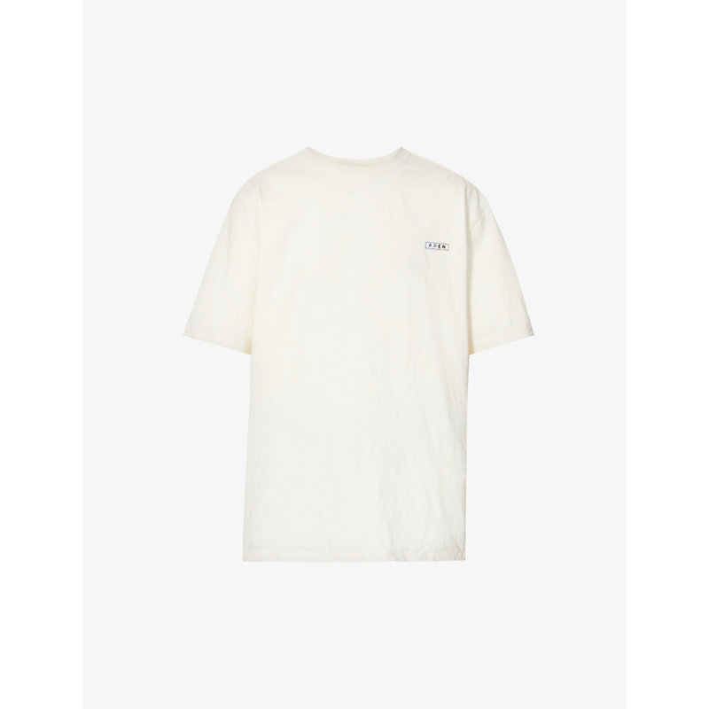 Ader Error Logo-embroidered Dropped-shoulder Cotton-jersey T-shirt In White